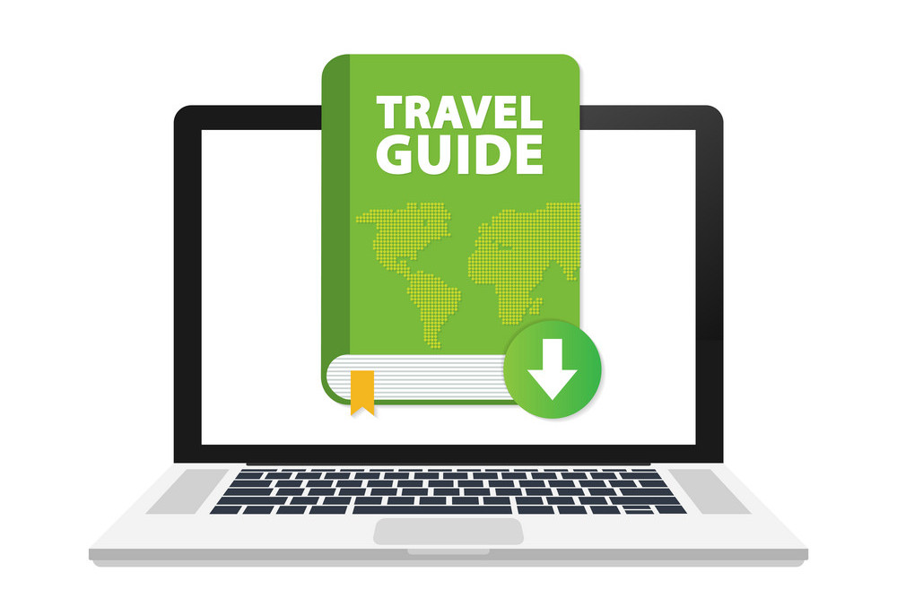 Download Travel guide book on laptop. Vector stock illustration.